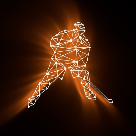 Professional hockey player. Cutout silhouette textured by lines and dots pattern. 3D rendering Stock Photo
