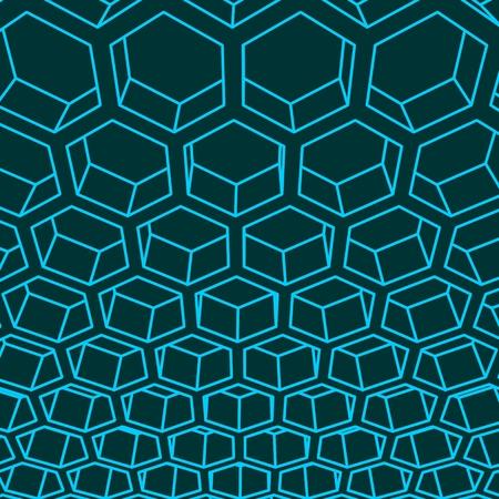 Perspective view on honeycomb. Hexagon pattern background. Isometric geometry Stock Illustratie