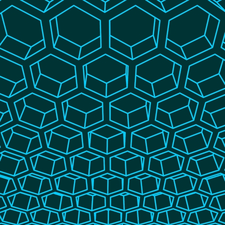Perspective view on honeycomb. Hexagon pattern background. Isometric geometry 向量圖像