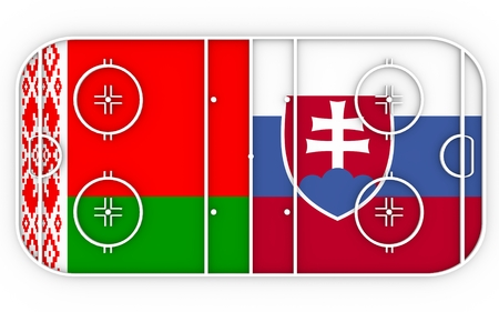 Belarus vs Slovakia. Ice hockey competition. National flags on playground. 3D rendering Stock Photo