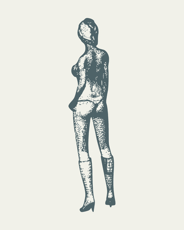 Beautiful sexy fitness girl. Pretty woman wearing lingerie. Back view. Vintage engraved illustration