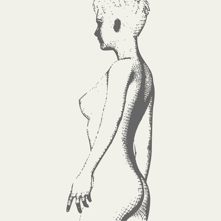 Naked young woman silhouette. Female torso sketch. Vintage engraved illustration