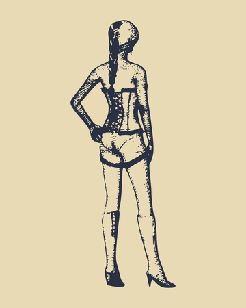 Beautiful sexy fitness girl. Pretty woman wearing lingerie. Back view vintage engraved illustration.