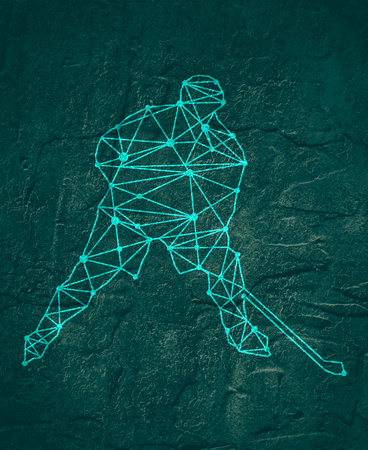 Professional hockey player. Cutout silhouette textured by lines and dots pattern.