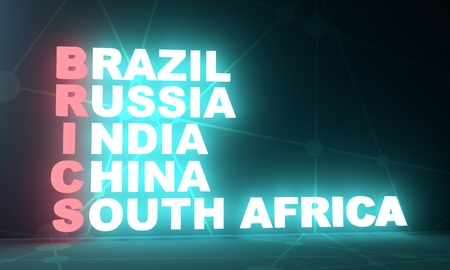 Acronym BRICS - Brazil, Russia, India, China, South Africa trade union. Business conceptual image. 3D rendering. Neon bulb illumination. Global teamwork