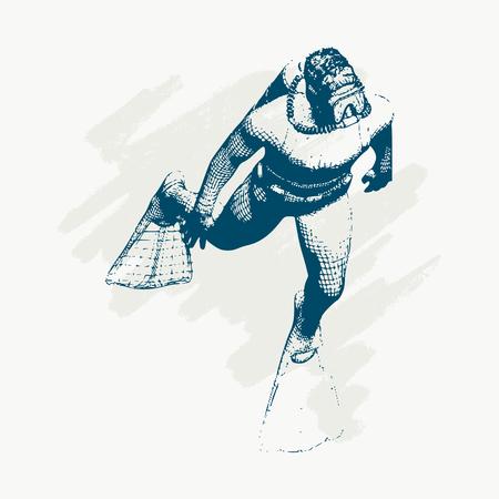 Silhouette of diver. Icon diver. The concept of sport diving. Vintage engraved illustration Illustration