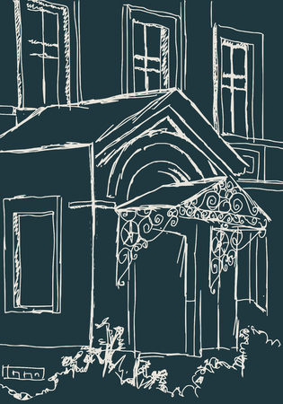 View of an old building. House exterior with porch. Sketch style illustration