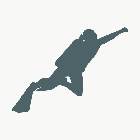 Silhouette of diver. Icon diver. The concept of sport diving. 向量圖像