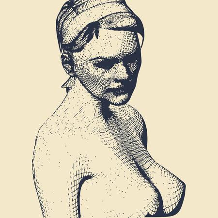 Portrait of a lady. Vintage engraved illustration 일러스트