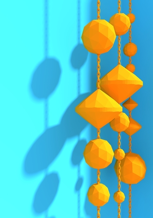 Platonic solid design. Hanging from a chain low poly shapes. 3D rendering