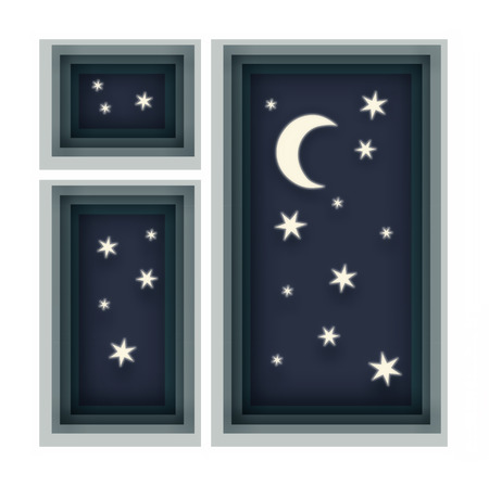 Night sky with stars and a month in the window. Abstract background with paper cut shapes. Stock Photo