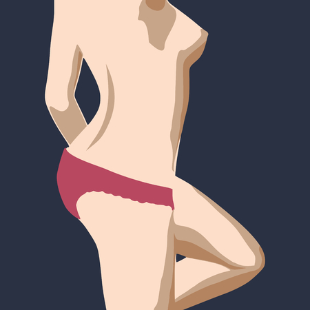 Beautiful sexy fitness girl. Pretty fit woman posing. Blue lingerie. Side view Stock Vector - 102161631
