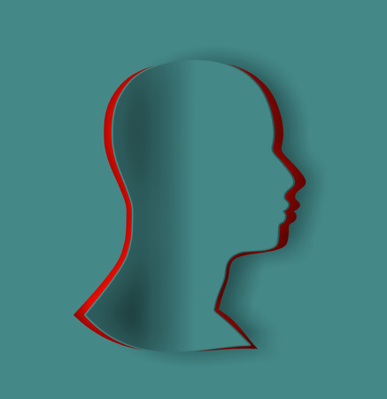 Cutout silhouette of a man's head. Mental health relative brochure, report or flyer design template. Abstract background with paper cut shape. Фото со стока