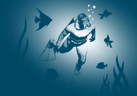 Silhouette of diver. Icon diver. The concept of sport diving. Stock Photo