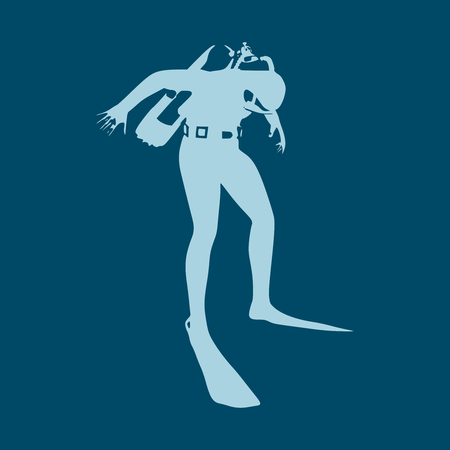 Silhouette of diver. Icon diver. The concept of sport diving. Illustration