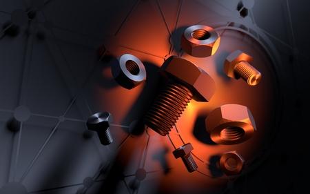 ナットとボルト浮上グループ。抽象的な背景オレンジ色のライトスポット。