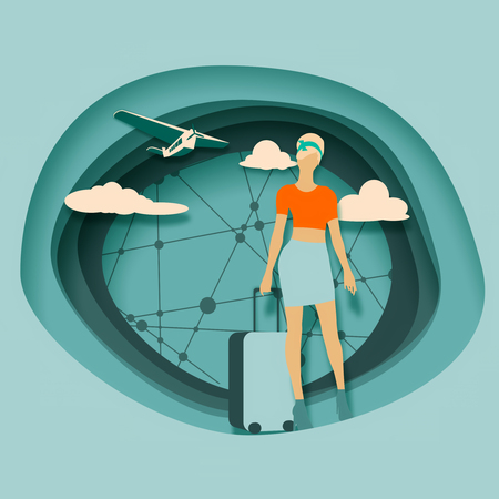 Woman traveler silhouette standing with baggage. Retro hair style. Cloudscape with retro airplane on backdrop. Background with paper cut shapes. Connected lines with dots.
