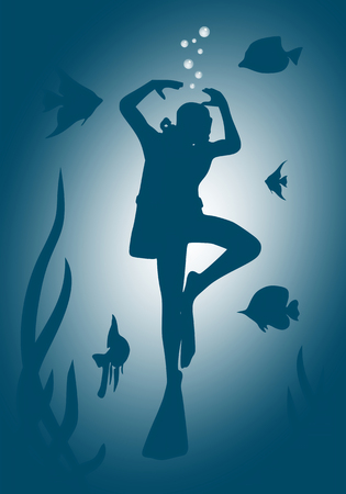 Silhouette of dancing diver in the depth of ocean. Seaweed and fishes. The concept of sport diving. Stock Photo