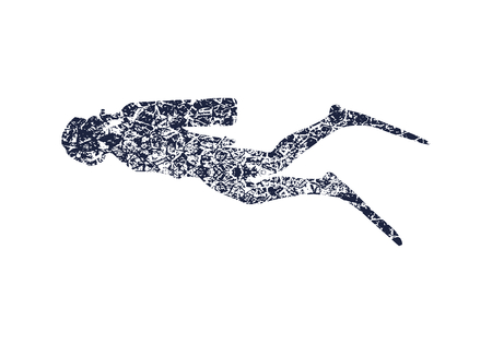Silhouette of diver. Icon diver. The concept of sport diving. Grunge cracked texture