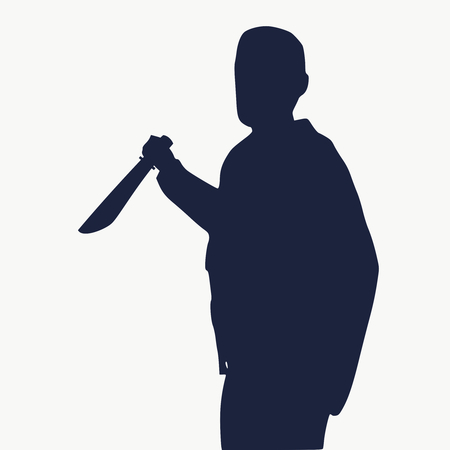 Silhouette of a man with a knife about to stab. Illustration