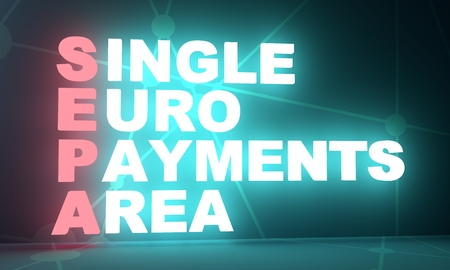 Acronym SEPA - Single euro payments area. 3D rendering. Neon bulb illumination