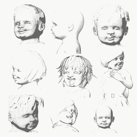 Set of the children portraits. Vintage engraved illustration