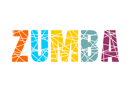 Lettering Zumba dance studio. Multicolor sliced word 矢量图像