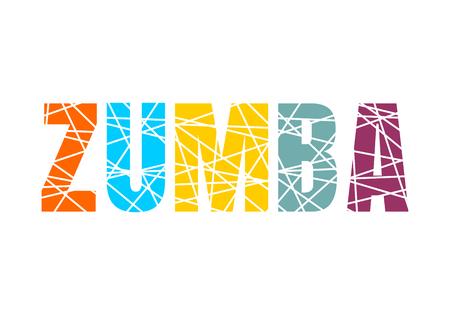 Rotulación de estudio de danza Zumba. Palabra en rodajas multicolor