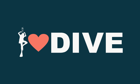 i love dive text with silhouette of diver and heart icon. The concept of sport diving.
