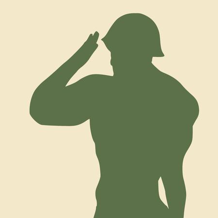 Silhouette of a soldier. Man wearing helmet.