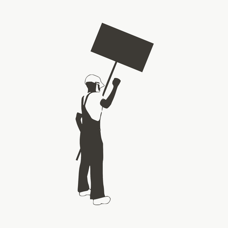 Worker protest hands with banner. Politic crisis situation Illustration