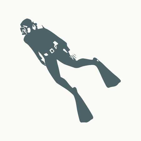Silhouette of diver. Icon diver. The concept of sport diving. Illusztráció