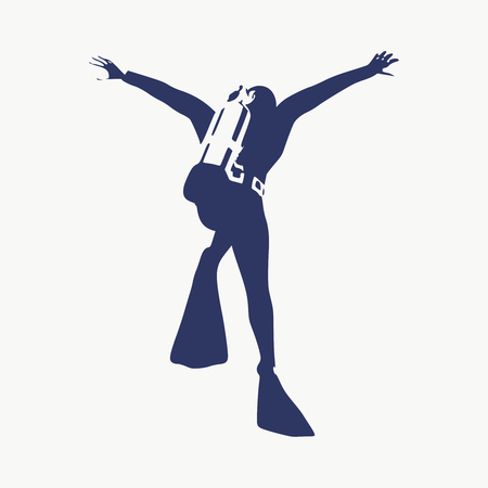 Silhouette of diver. Icon diver. The concept of sport diving. Vectores