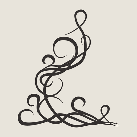 Stylish geometric pattern. Ornament of lines and curls. Linear abstract background. Tattoo design