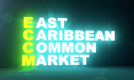 Acronym ECCM - East Caribbean Common Market. Business conceptual image. 3D rendering. Neon bulb illumination. Global teamwork.