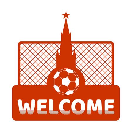 Football theme background. Soccer goal, ball and Kremlin tower