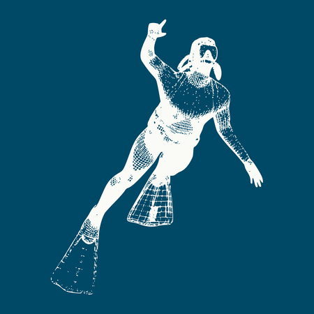Silhouette of diver. Icon diver. The concept of sport diving. Vintage engraved illustration  イラスト・ベクター素材