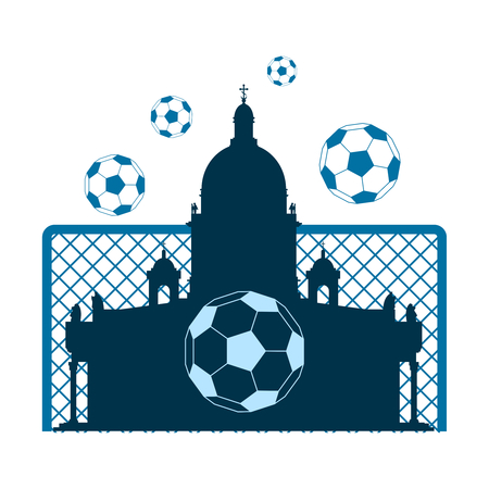 Football theme background. Soccer goal, ball and Saint Isaac Cathedral