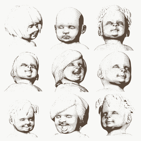 Set of the children portraits. Vintage engraved illustration
