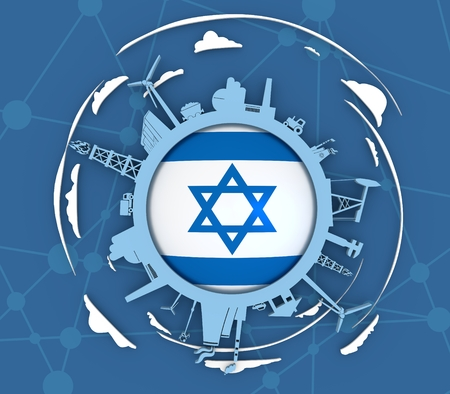 Circle with industry relative silhouettes. Objects located around the circle. Industrial design background. Flag of the Israel in the center. 3D rendering