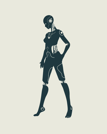 Humanoid robot silhouette. Robotics industry relative image. Illustration