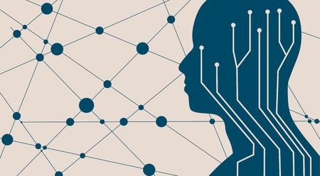 Human head silhouette. Robotics industry relative image. Molecule and communication technology background. Connected lines with dots. Illustration