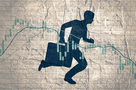 Forex candlestick pattern. Trading chart concept. Financial market chart. Businessman running with briefcase.