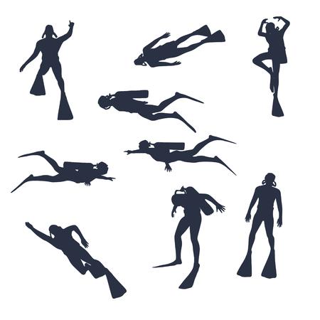 Silhouetten des Tauchers. Satz von Tauchersymbolen. Das Konzept des Sporttauchens. Vektorgrafik