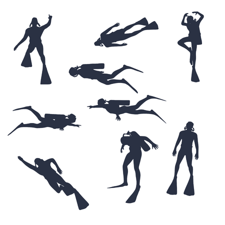 Silhouettes of diver. Set of diver icons. The concept of sport diving. Illustration