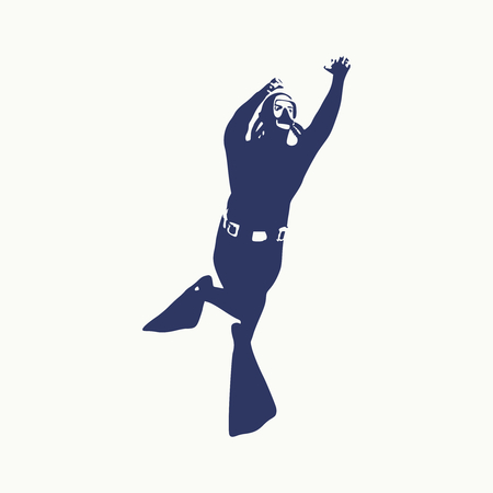 Silhouette of diver. Icon diver. The concept of sport diving.  イラスト・ベクター素材