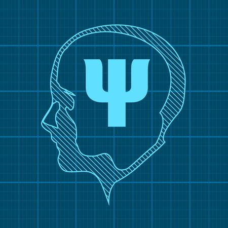 Silhouette of a human head. Mental health relative brochure, report design template. Scientific medical designs. Psi symbol in the head. Mechanical engineering drawing background.