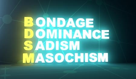 Acronym BDSM - Bondage, Dominance, Sadism amd Masochism. Technology conceptual image. 3D rendering. Neon bulb illumination Фото со стока