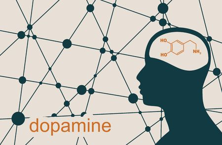 Silhouette of a man head. Mental health relative brochure, report design template. Scientific medical designs. Connected lines with dots. Dopamine hormone formula