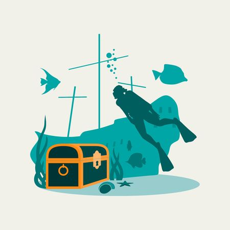 Silhouette of diver. Underwater world background. Underwater landscape with sunken ship and treasure chest. Marine life and fauna.